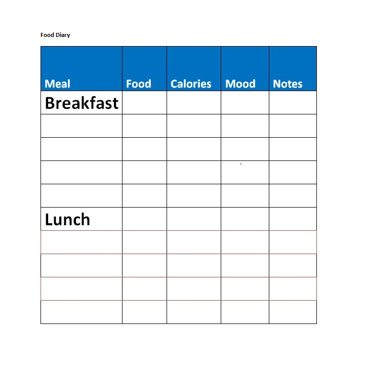 40 Simple Food Diary Templates Food Log Examples Free Template