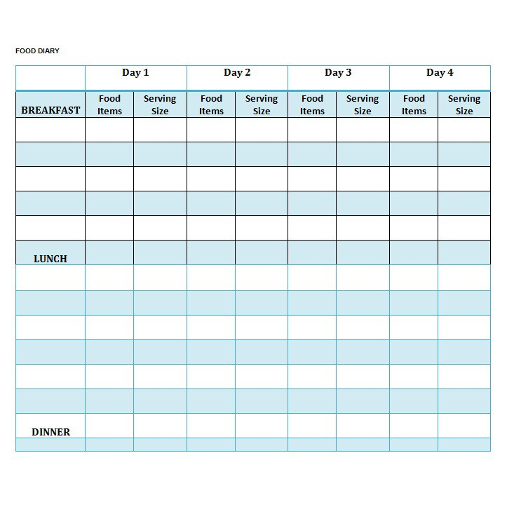 40 Simple Food Diary Templates & Food Log Examples – Free Template