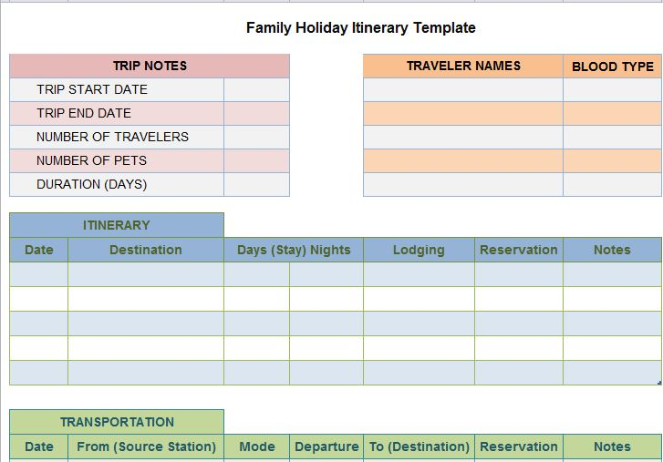 30 itinerary templates travel vacation trip flight for Trip planning itinerary template