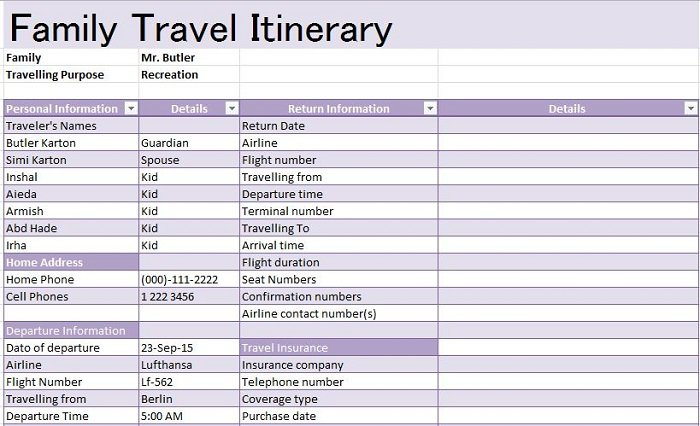 30 Itinerary Templates Travel Vacation Trip Flight Free Template Downloads