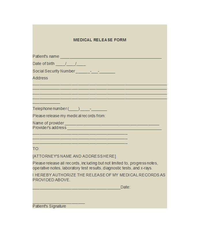 Medical Release Form Templates  Free Template Downloads
