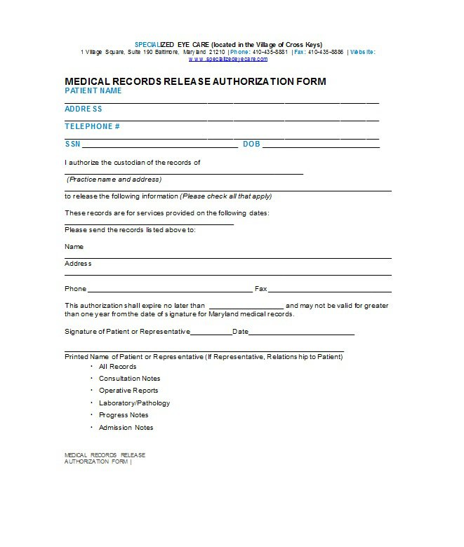 30 Medical Release Form Templates Free Template Downloads – Medical Consultation Form