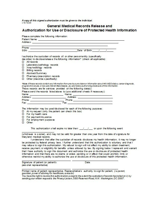 30 Medical Release Form Templates Free Template Downloads – Personal Information Release Form