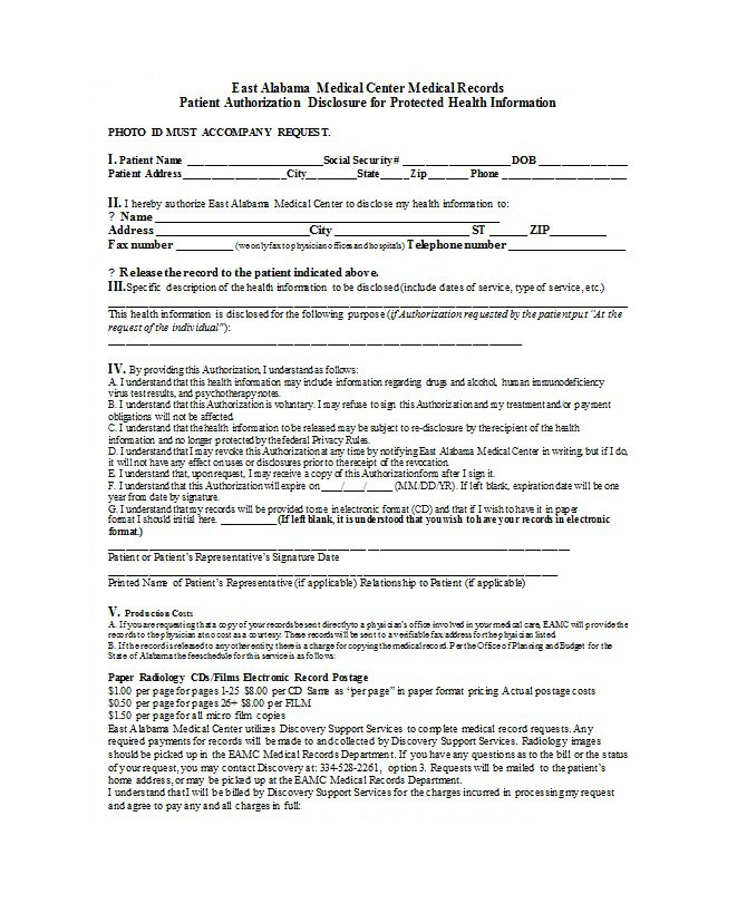 30+ Medical Release Form Templates – Free Template Downloads