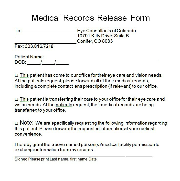 Sample Medical Records Release Form Best Example For Generic