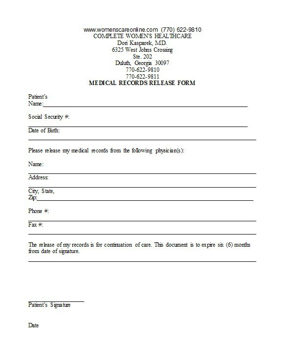 30 Medical Release Form Templates Free Template Downloads – Medical Release Form