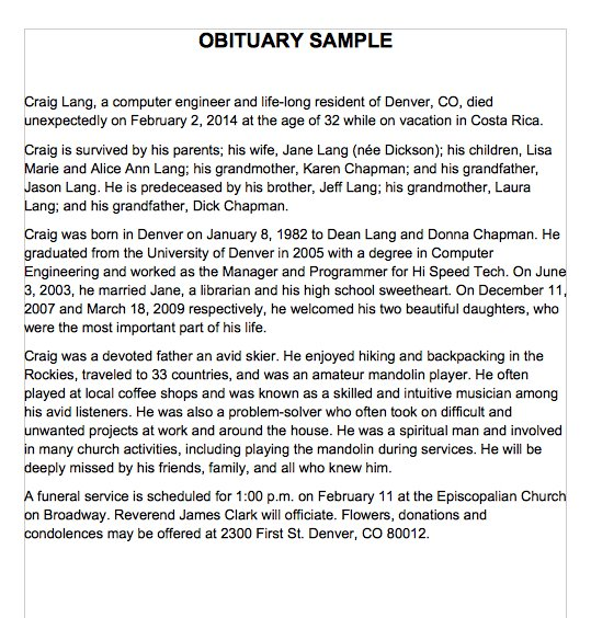 25  free obituary templates and samples