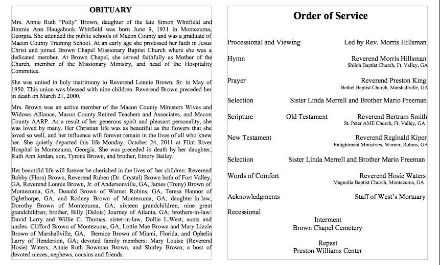 Microsoft Office Obituary Template Printable Funeral Program