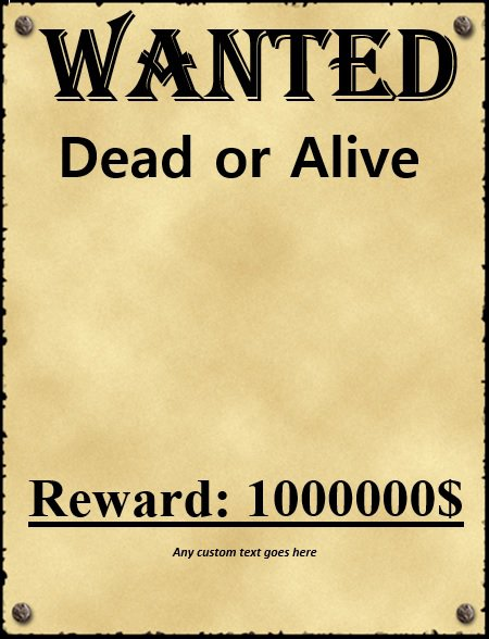 18 Free Wanted Poster Templates FBI and Old West Free Free – Template for a Wanted Poster