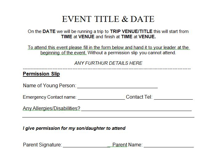 35 Permission Slip Templates Amp Field Trip Forms Free