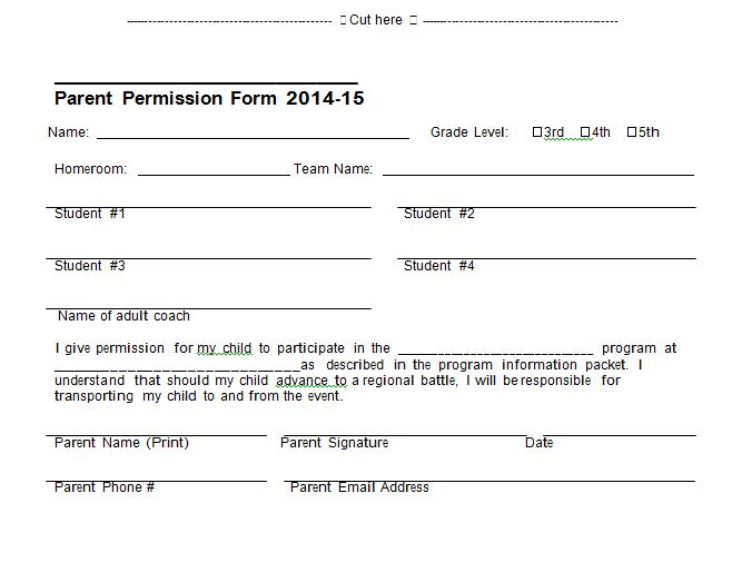 Permission Slip 31  Permission Slip Template Word