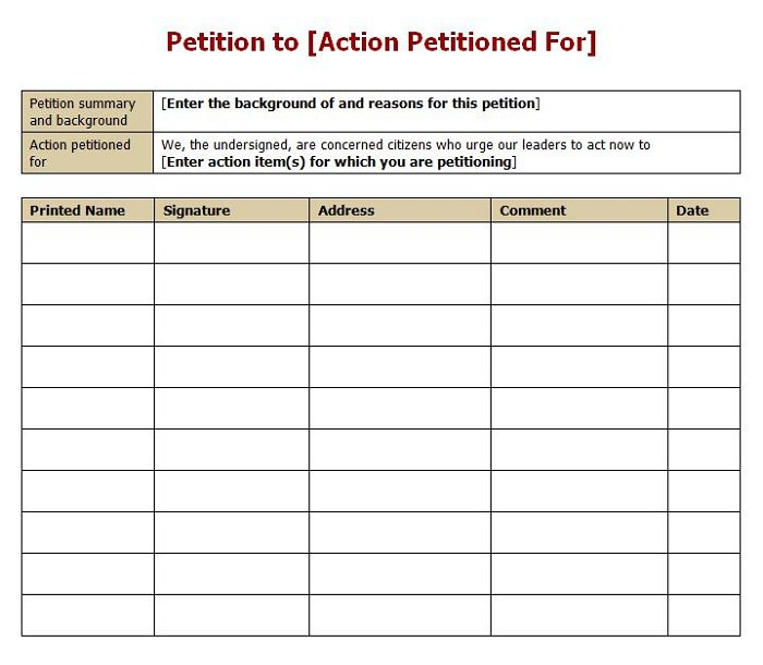 petition sign up sheet template 30 free petition templates how to write petition guide