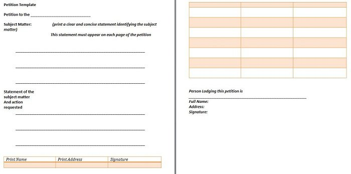 Pretty Petition Template To Print Ideas  Wordpress Themes Ideas
