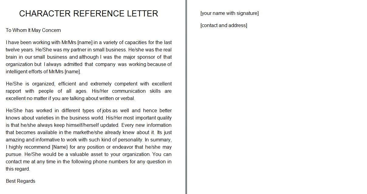 sample of a character reference letter
