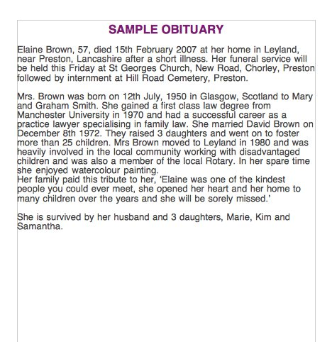 Free Obituary Templates And Samples  Free Template Downloads