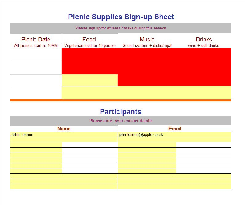 Sign Up Sheet  Sign In Sheet Templates Word  Excel  Free