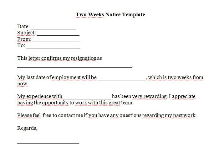 40 two weeks notice letters resignation letter templates free