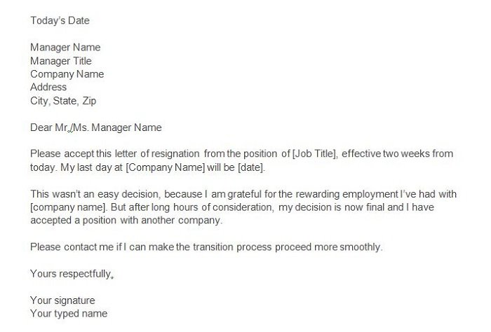 Two Weeks Notice Letters  Resignation Letter Templates  Free