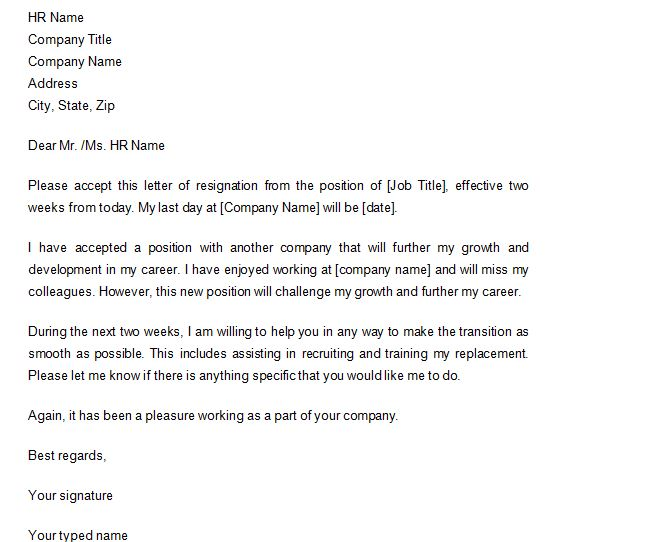 Two Weeks Notice Letters  Resignation Letter Samples  Free