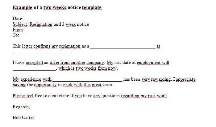 40 Two Weeks Notice Letters & Resignation Letter Templates – Free