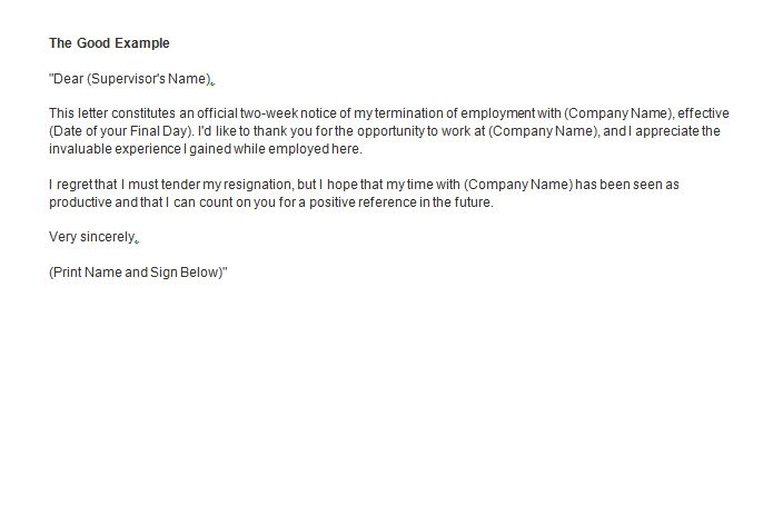 Example Of A Resignation Letter Two Weeks Notice  Resume Layout
