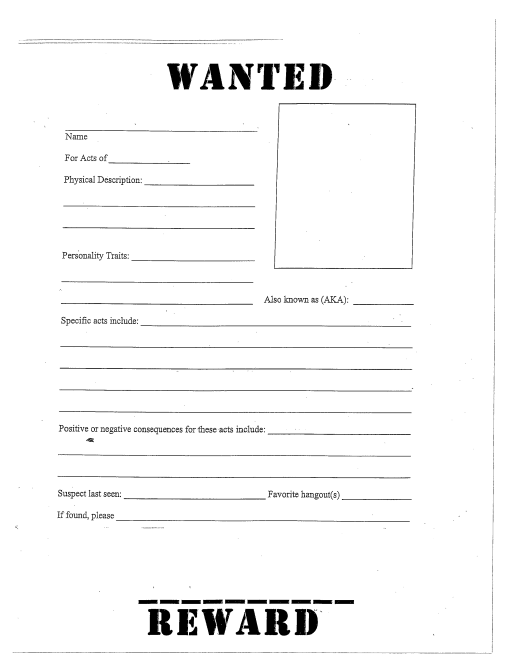 wanted poster template free printable
