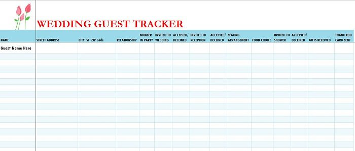 37 Free Beautiful Wedding Guest List Itinerary Templates Free – Printable Guest List Template