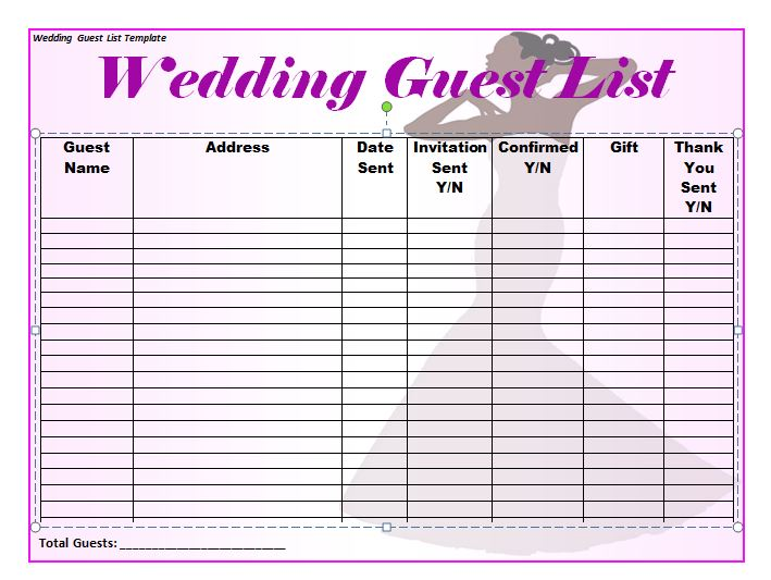 Doc779602 Wedding Guest Lists Template Wedding Guestlist – Wedding Guest List Template Free