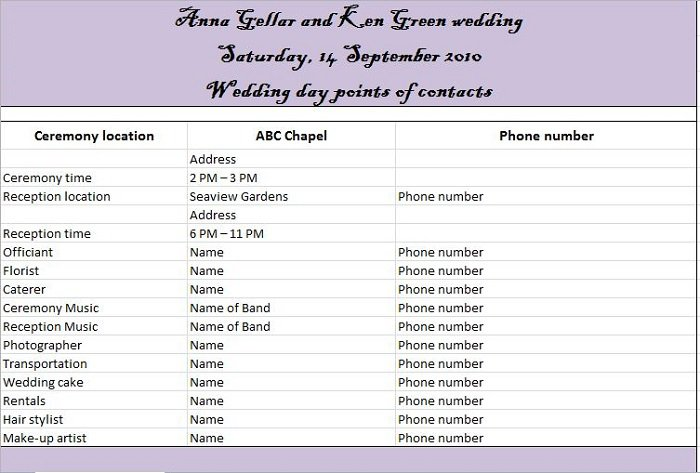 Free Beautiful Wedding Guest List Itinerary Templates Free - Wedding day itinerary template