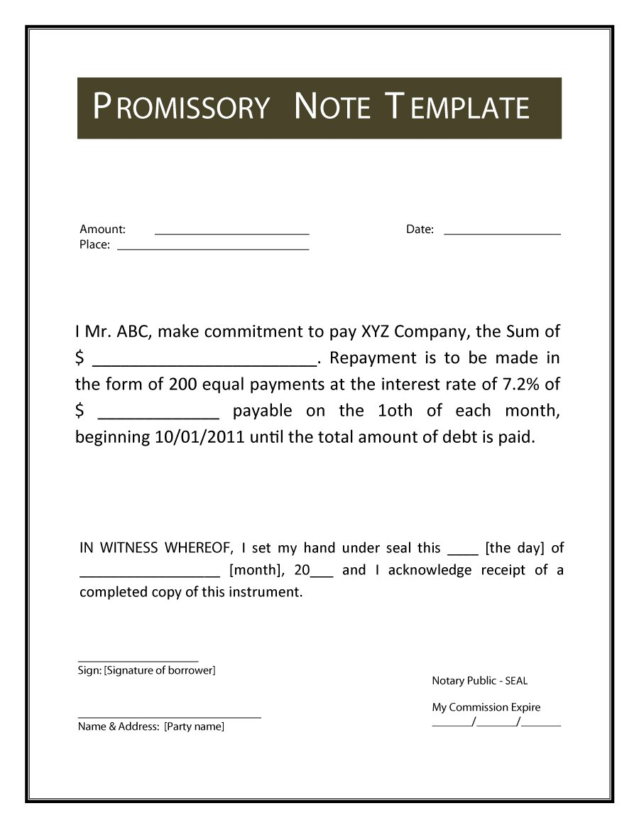 45 FREE Promissory Note Templates Forms Word PDF Free