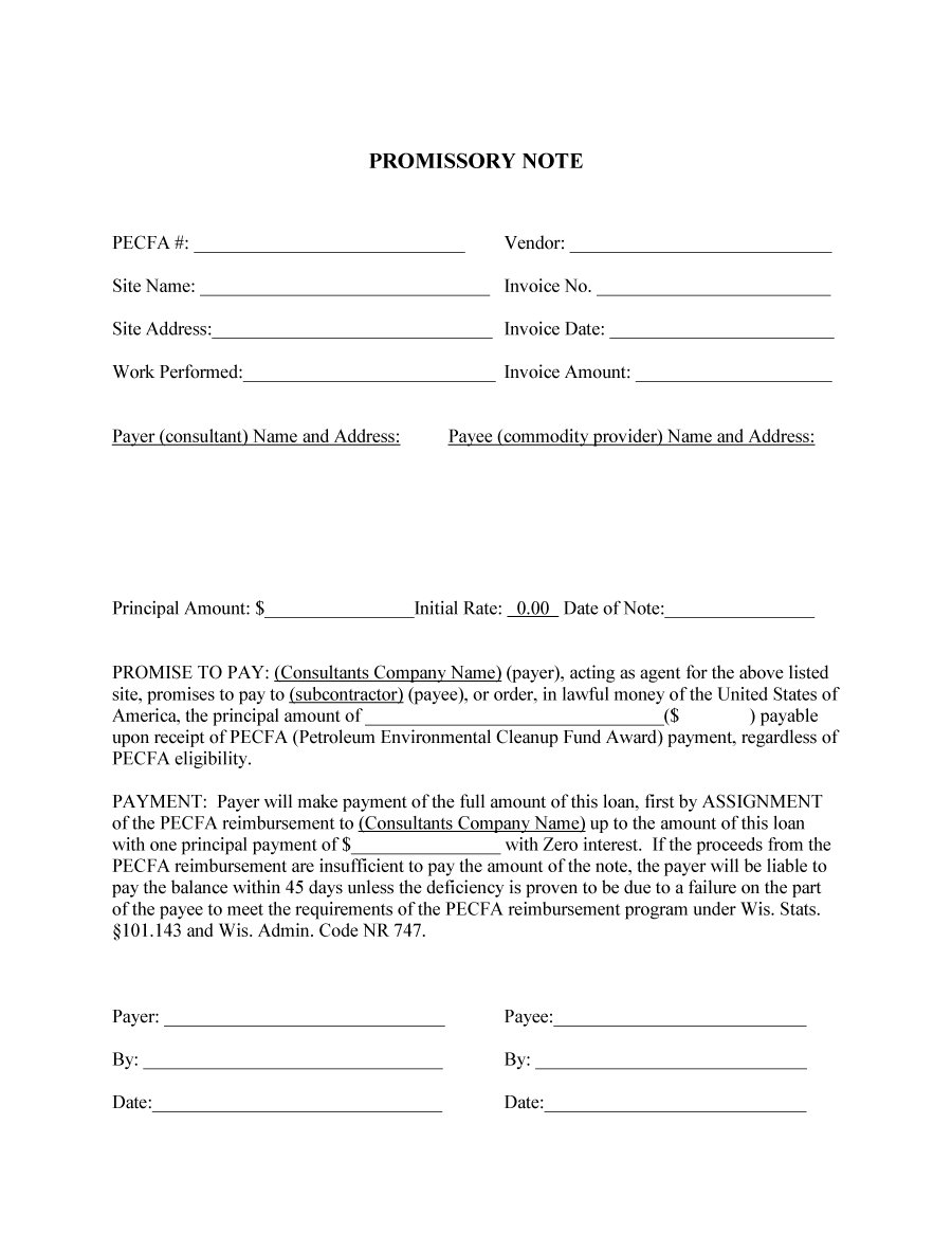 Printable Promissory Note  Promissory Note Simple