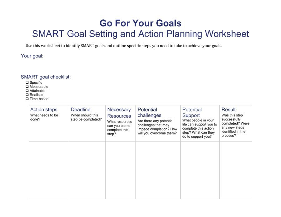 Smart Goals Templates Examples  Worksheets  Free Template