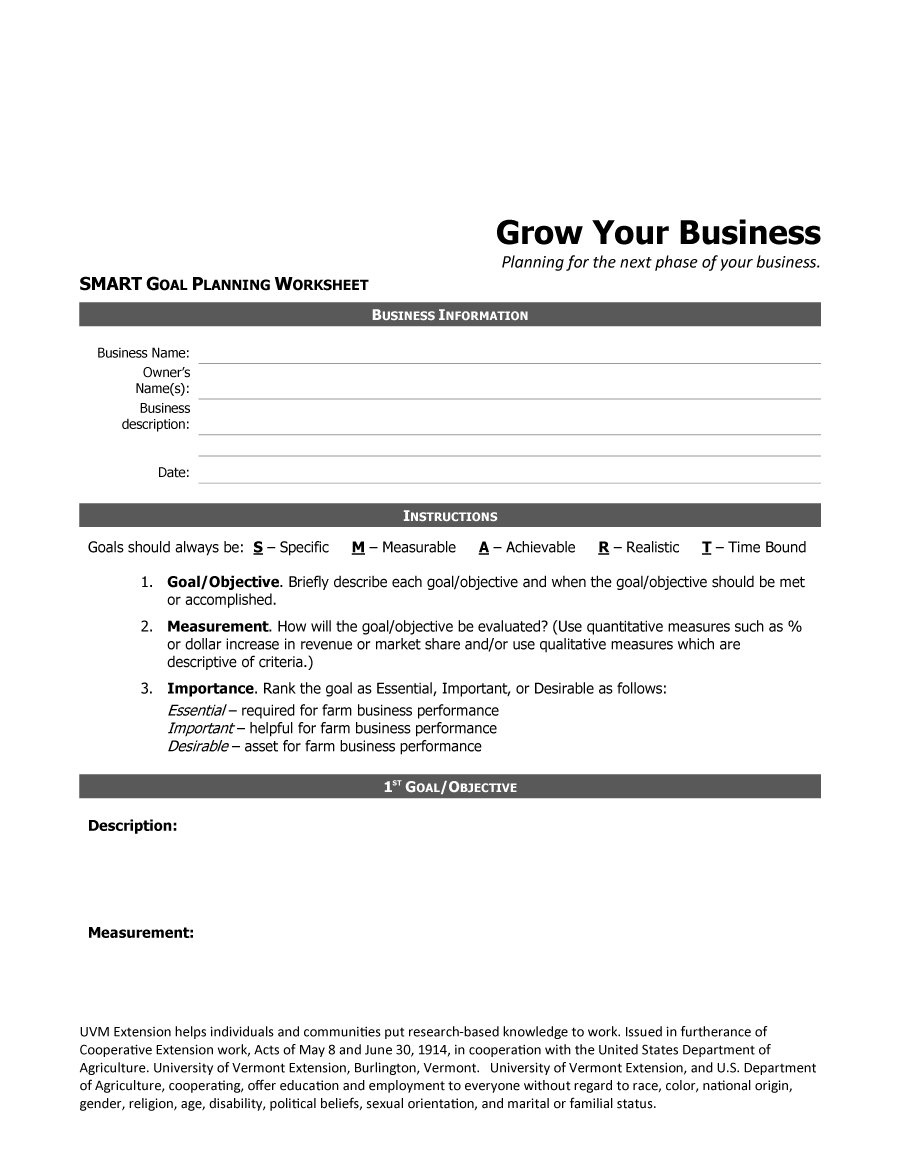 Farm business plan worksheet example