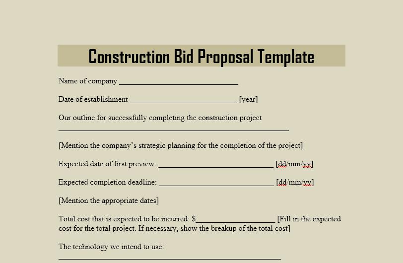 Project Bid Template from www.freetemplatedownloads.net