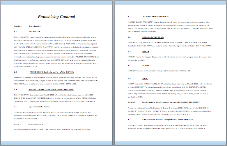 brand franchising contract template