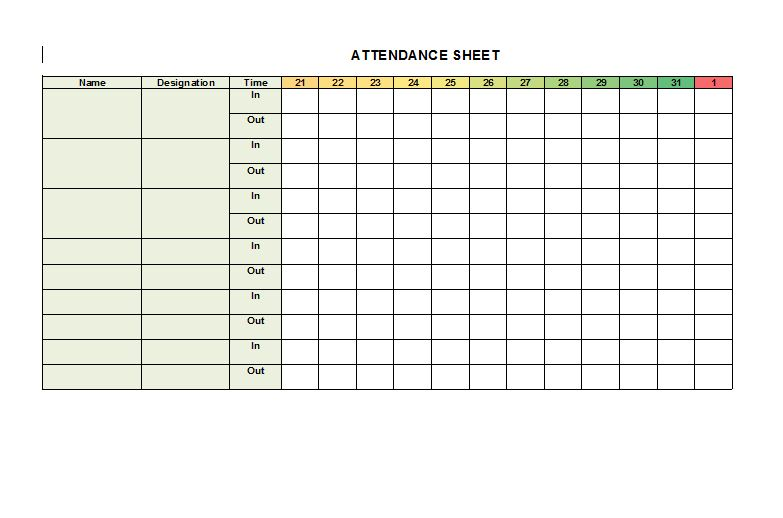 This is an image of Printable Attendance Sheets regarding tracking