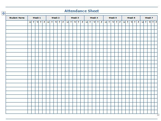 This is a picture of Printable Attendance Sheets pertaining to student attendance