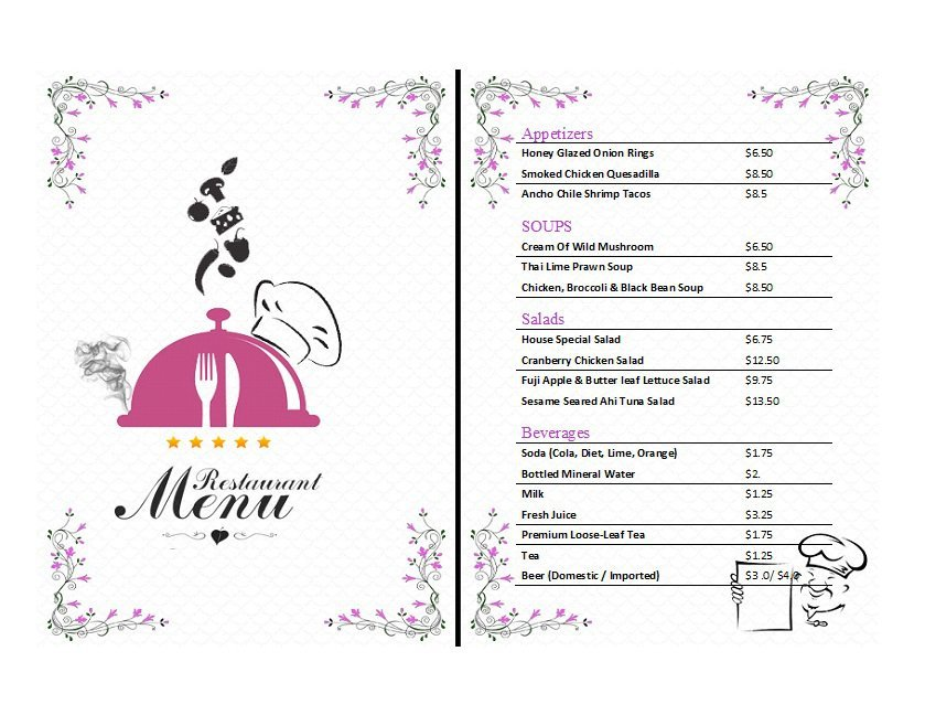 It is a photo of Printable Menu Template for wedding