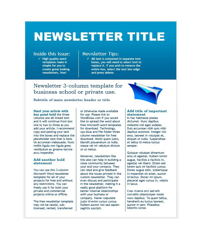 50 Free Newsletter Templates For Work School And Classroom Free Template Downloads