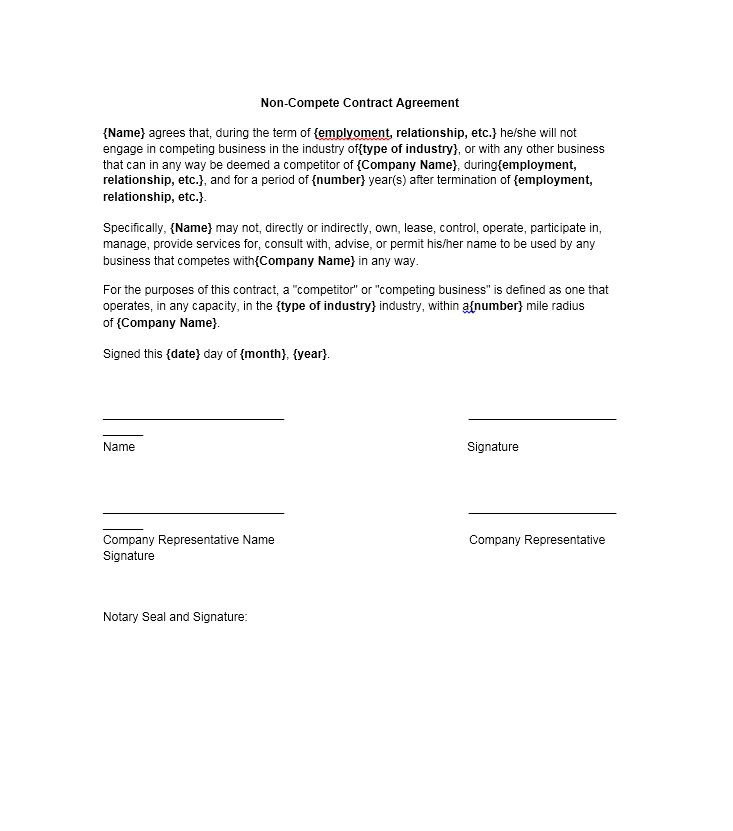 Non Compete Letter To Employees from www.freetemplatedownloads.net