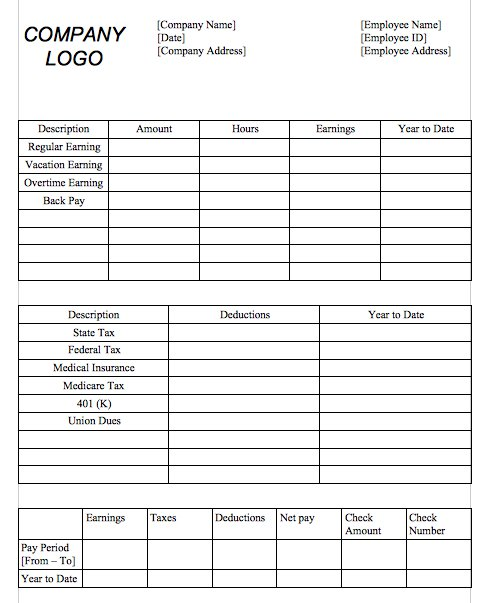 29 Great Pay Slip Paycheck Stub Templates Free Template Downloads