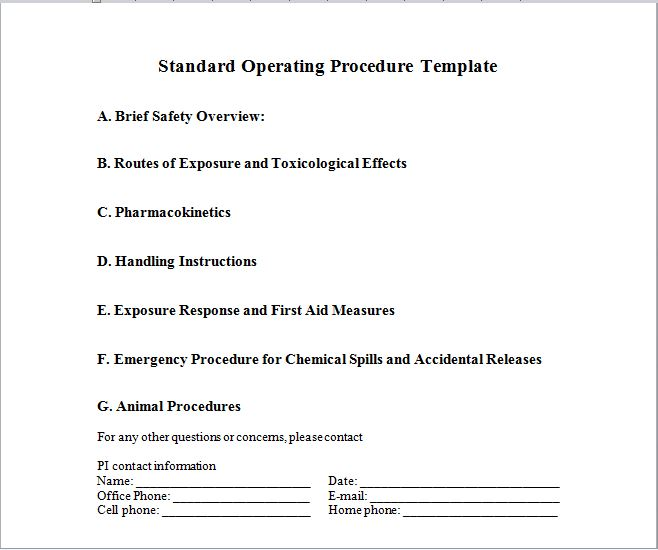 37 Best Free Standard Operating Procedure Sop Templates Free Template Downloads