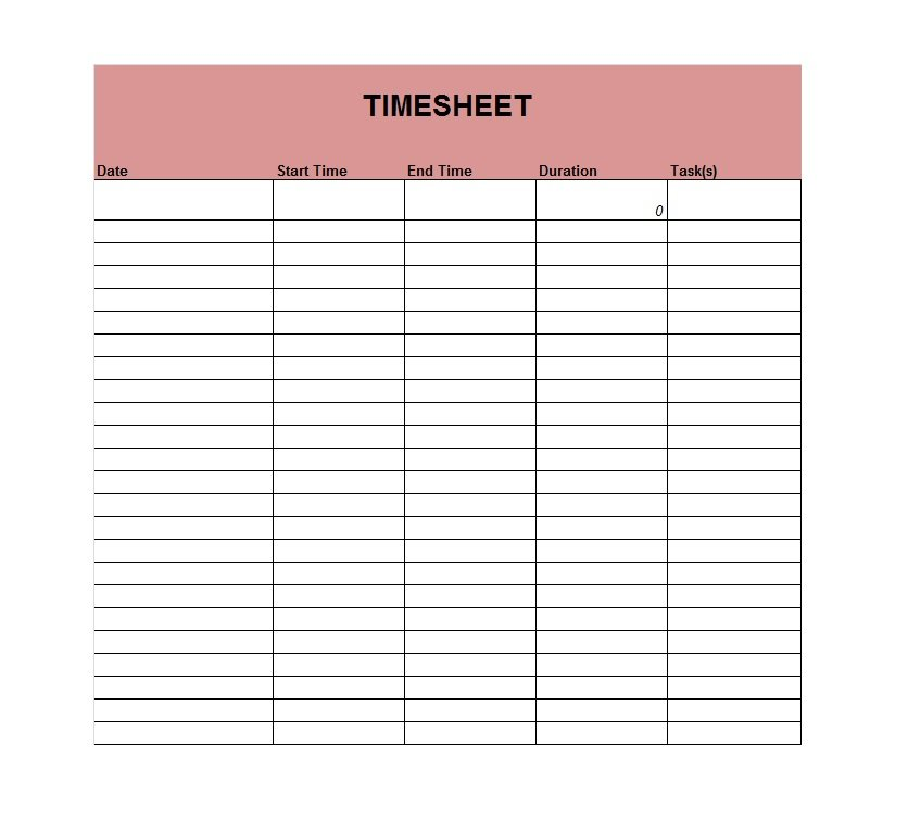 41 Free Timesheet / Time Card Templates - Free Template ...