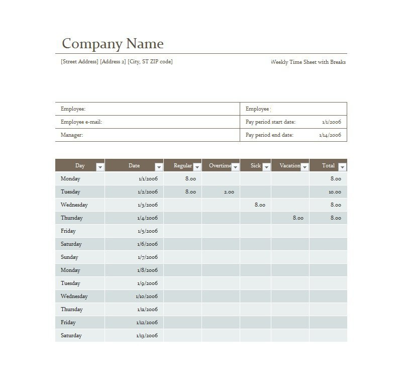 41 Free Timesheet / Time Card Templates