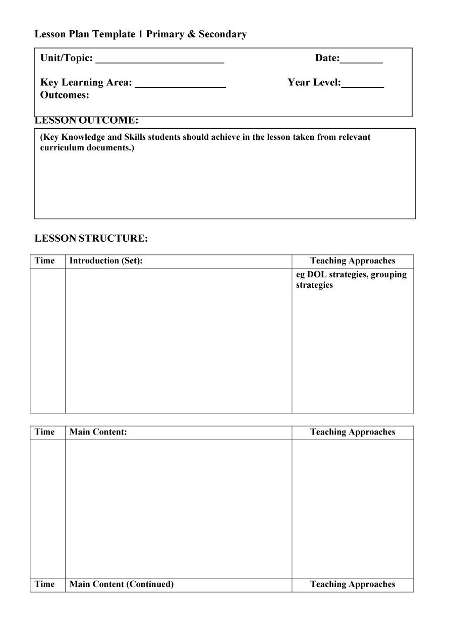 44 Free Lesson Plan Templates Common Core Preschool Weekly Free Template Downloads