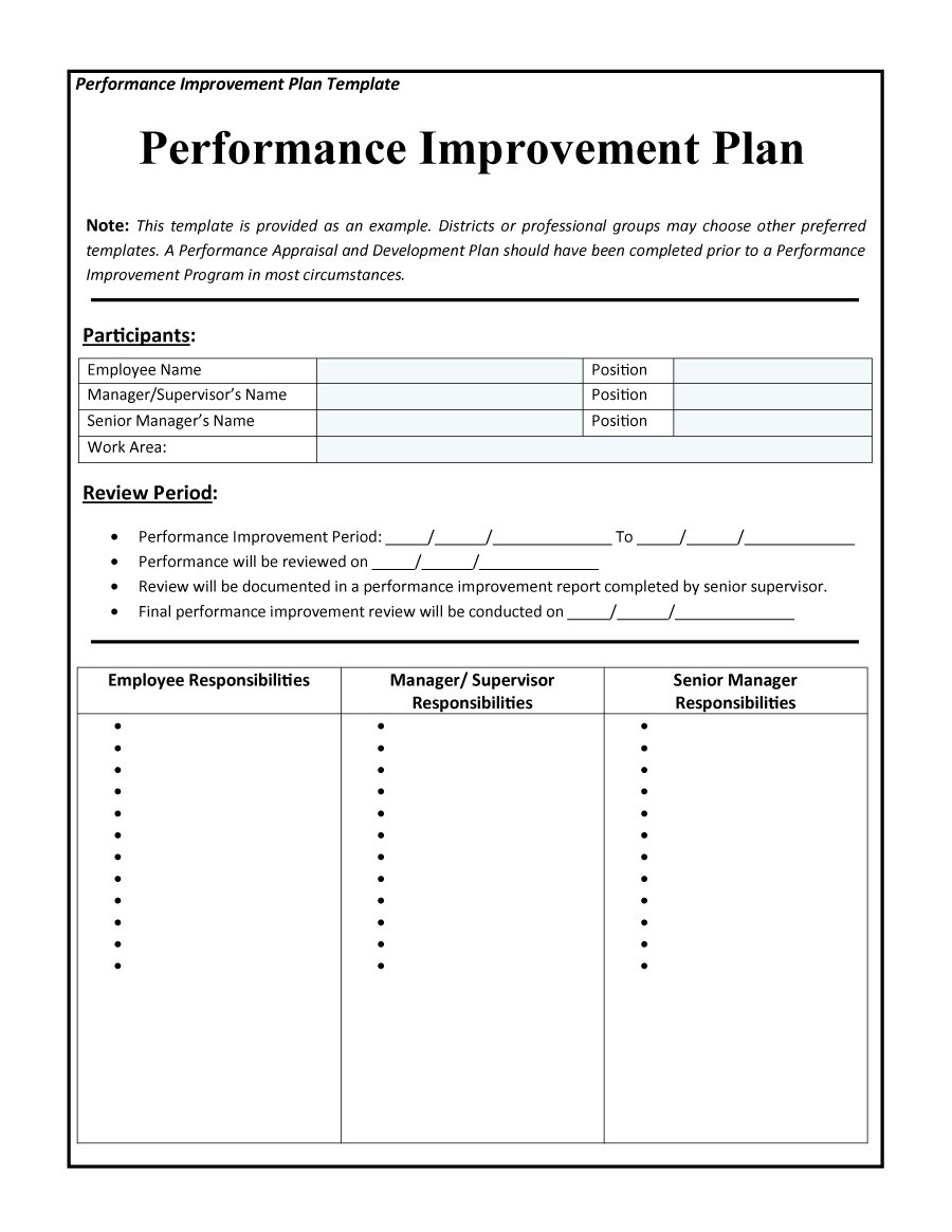 43 free performance improvement plan templates examples. Black Bedroom Furniture Sets. Home Design Ideas