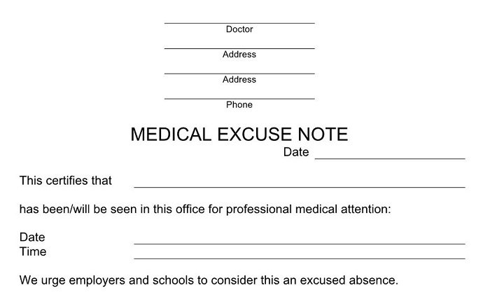 27 free doctor note    excuse templates