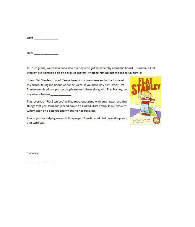Flat Stanley Letter Examples from www.freetemplatedownloads.net