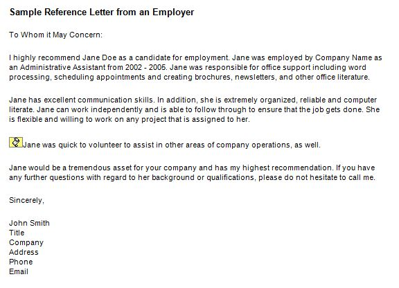 Letter Of References For Employment from www.freetemplatedownloads.net