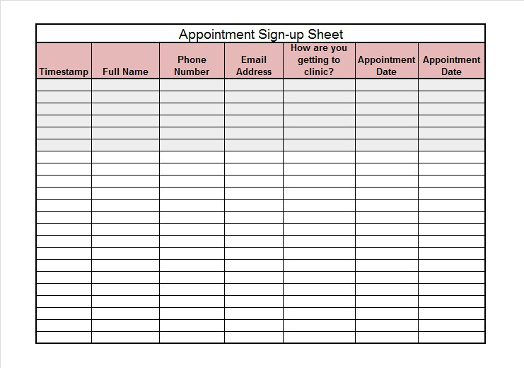 40 Sign Up Sheet / Sign In Sheet Templates (Word & Excel ...